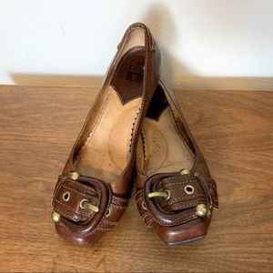Frye | Brown leather Megan buckle flats